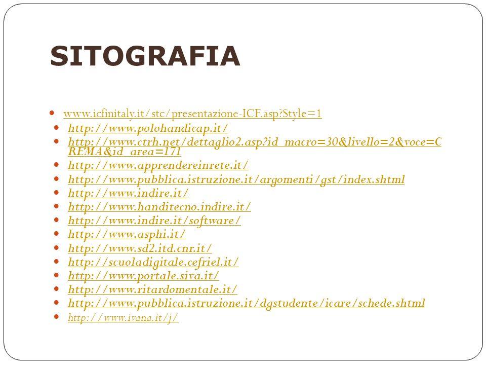 SITOGRAFIA www.icfinitaly.it/stc/presentazione-ICF.asp?Style=1 http://www.polohandicap.it/ http://www.ctrh.net/dettaglio2.asp?id_macro=30&livello=2&vo