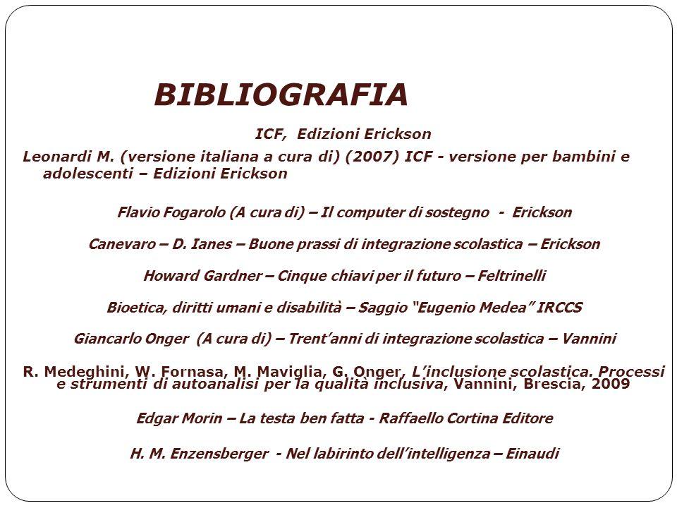 BIBLIOGRAFIA ICF, Edizioni Erickson Leonardi M. (versione italiana a cura di) (2007) ICF - versione per bambini e adolescenti – Edizioni Erickson Flav
