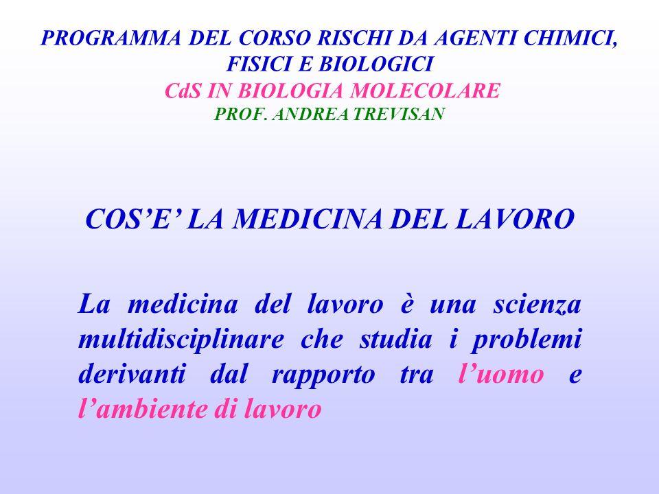 CORSO RISCHI DA AGENTI CHIMICI, FISICI E BIOLOGICI CdS IN BIOLOGIA MOLECOLARE PROF.