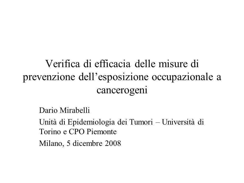 Verifica di efficacia delle misure di prevenzione dellesposizione occupazionale a cancerogeni Dario Mirabelli Unità di Epidemiologia dei Tumori – Univ