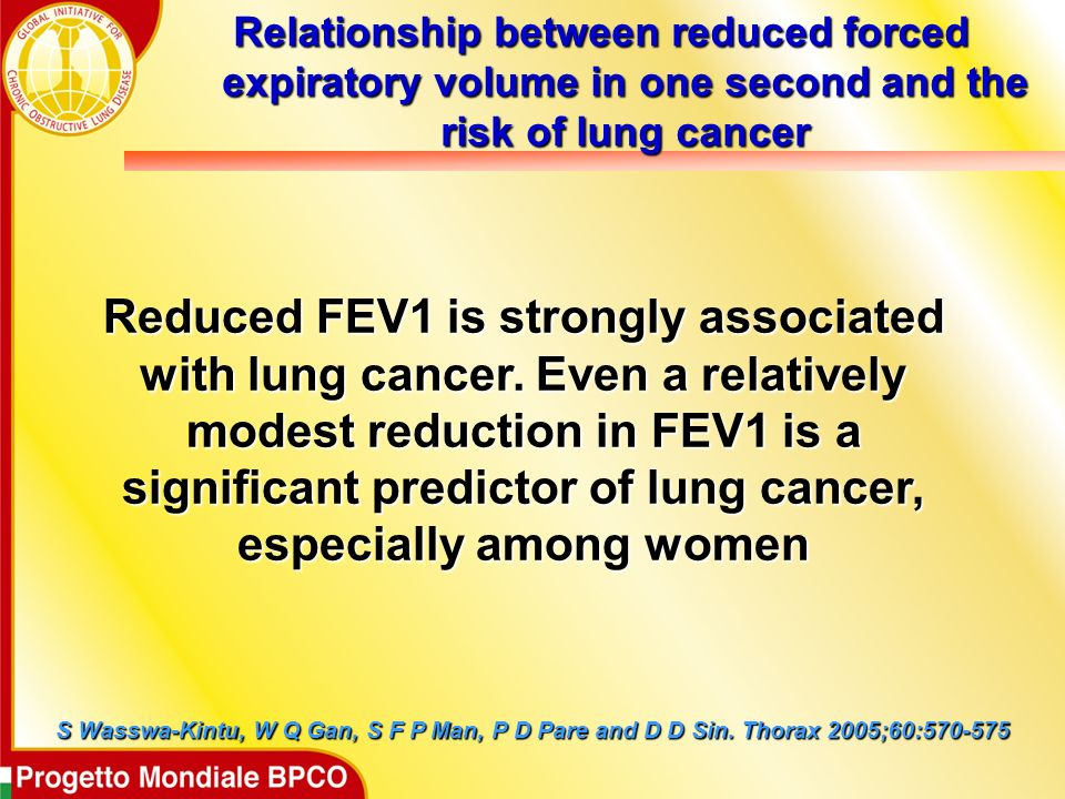 Relationship between reduced forced expiratory volume in one second and the risk of lung cancer S Wasswa-Kintu, W Q Gan, S F P Man, P D Pare and D D Sin.