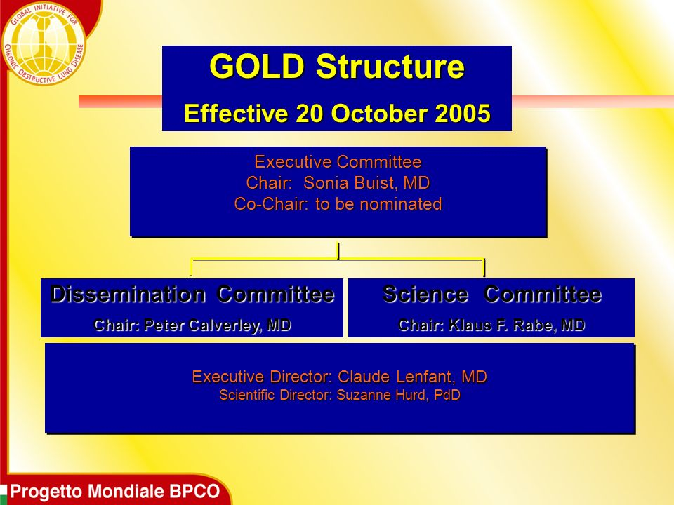 Executive Committee Chair: Sonia Buist, MD Co-Chair: to be nominated Dissemination Committee Chair: Peter Calverley, MD GOLD Structure Effective 20 October 2005 Science Committee Chair: Klaus F.