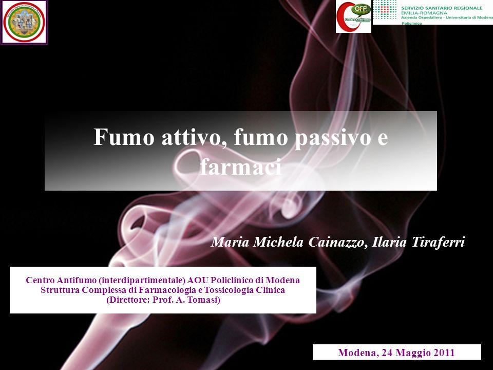 Fumo attivo, fumo passivo e farmaci Centro Antifumo (interdipartimentale) AOU Policlinico di Modena Struttura Complessa di Farmacologia e Tossicologia