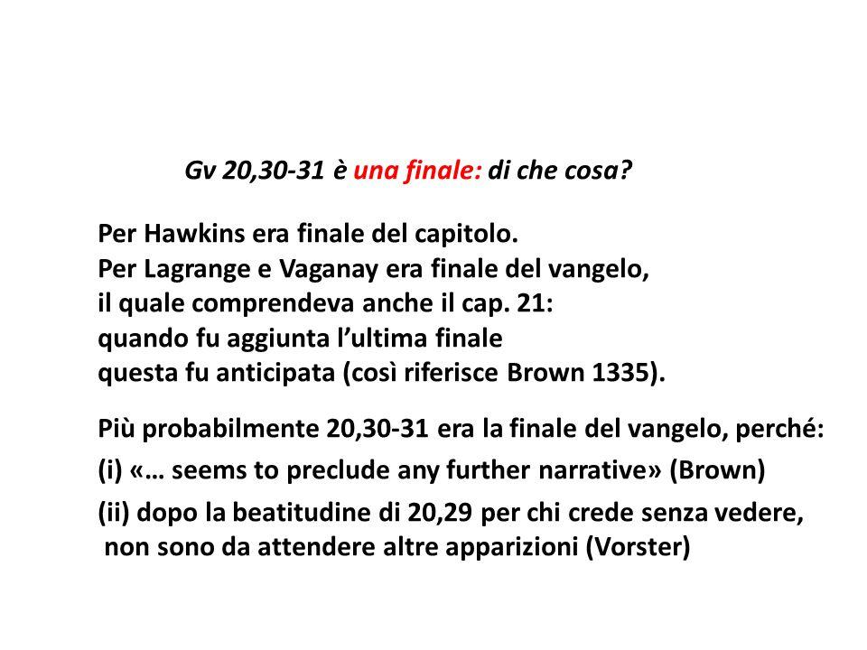 Gv 20,30-31 è una finale: di che cosa? Per Hawkins era finale del capitolo. Per Lagrange e Vaganay era finale del vangelo, il quale comprendeva anche