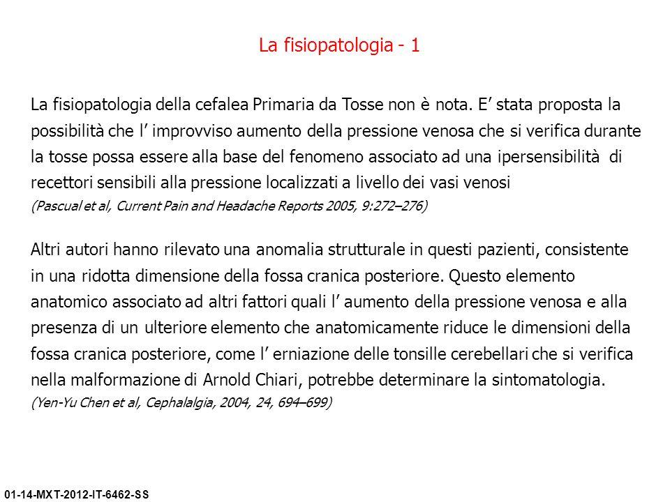 01-14-MXT-2012-IT-6462-SS La fisiopatologia della cefalea Primaria da Tosse non è nota. E stata proposta la possibilità che l improvviso aumento della