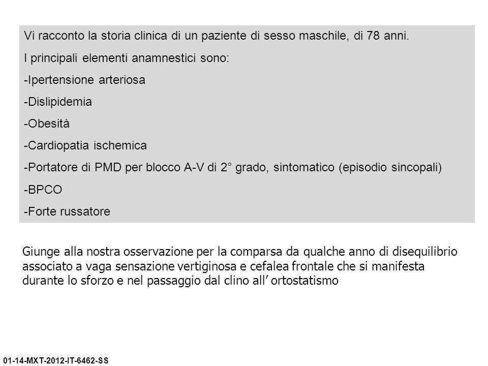 01-14-MXT-2012-IT-6462-SS Vi racconto la storia clinica di un paziente di sesso maschile, di 78 anni. I principali elementi anamnestici sono: -Iperten