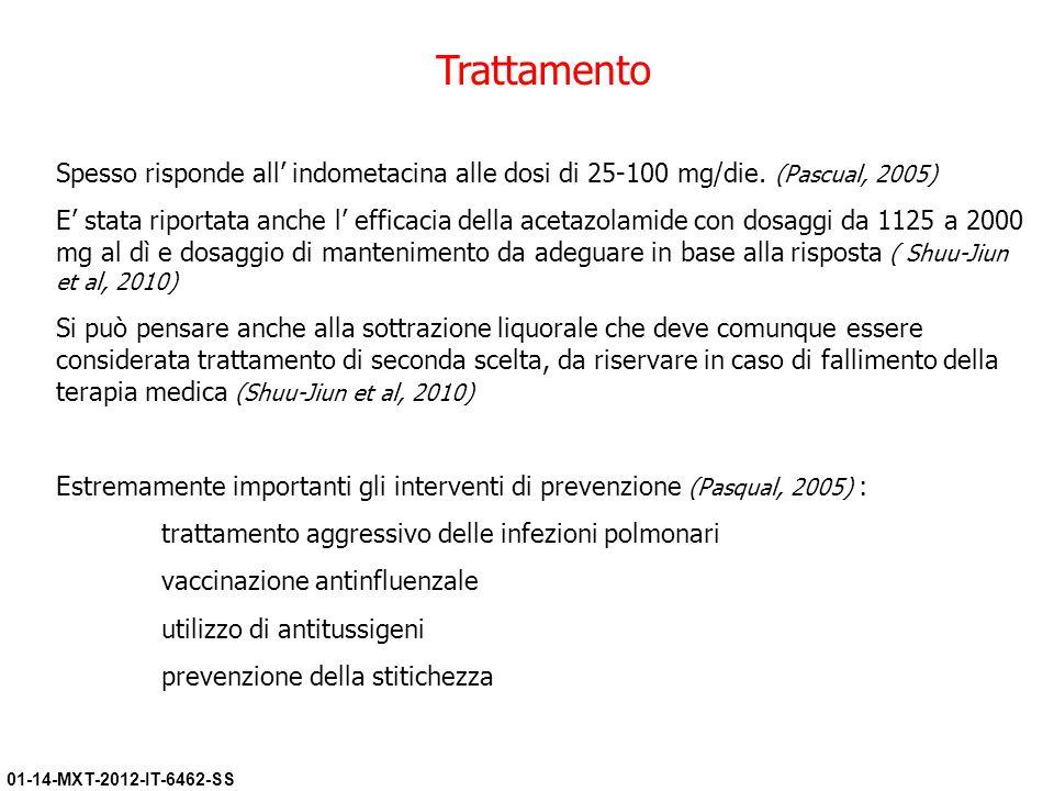 01-14-MXT-2012-IT-6462-SS Trattamento Spesso risponde all indometacina alle dosi di 25-100 mg/die. (Pascual, 2005) E stata riportata anche l efficacia