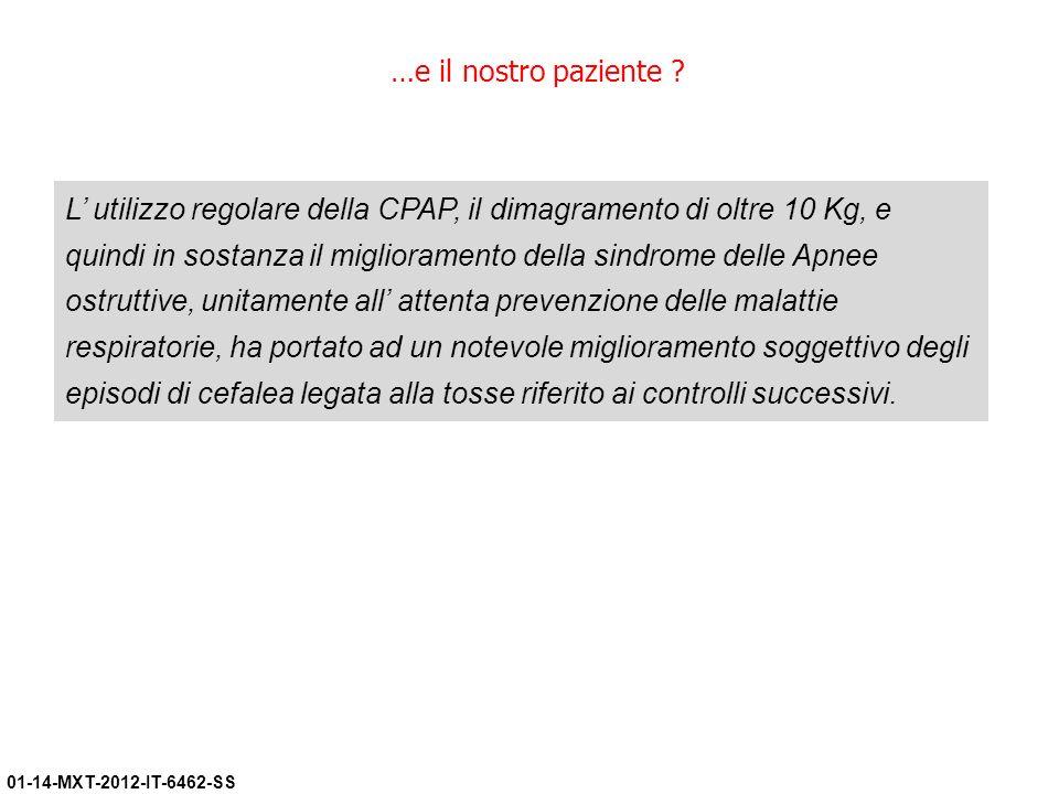 01-14-MXT-2012-IT-6462-SS …e il nostro paziente ? L utilizzo regolare della CPAP, il dimagramento di oltre 10 Kg, e quindi in sostanza il migliorament
