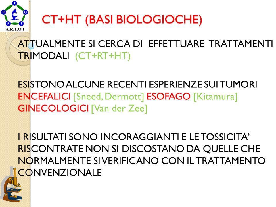 CT+HT (BASI BIOLOGIOCHE) ATTUALMENTE SI CERCA DI EFFETTUARE TRATTAMENTI TRIMODALI (CT+RT+HT) ESISTONO ALCUNE RECENTI ESPERIENZE SUI TUMORI ENCEFALICI