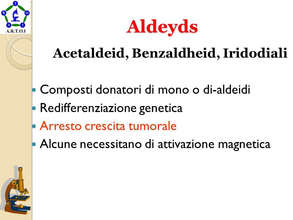 Aldeyds Aldeyds Acetaldeid, Benzaldheid, Iridodiali Composti donatori di mono o di-aldeidi Redifferenziazione genetica Arresto crescita tumorale Alcun