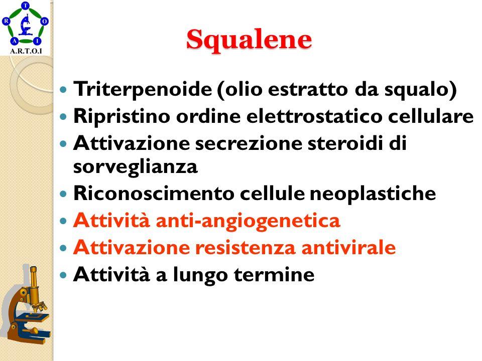 Squalene Squalene Triterpenoide (olio estratto da squalo) Ripristino ordine elettrostatico cellulare Attivazione secrezione steroidi di sorveglianza R