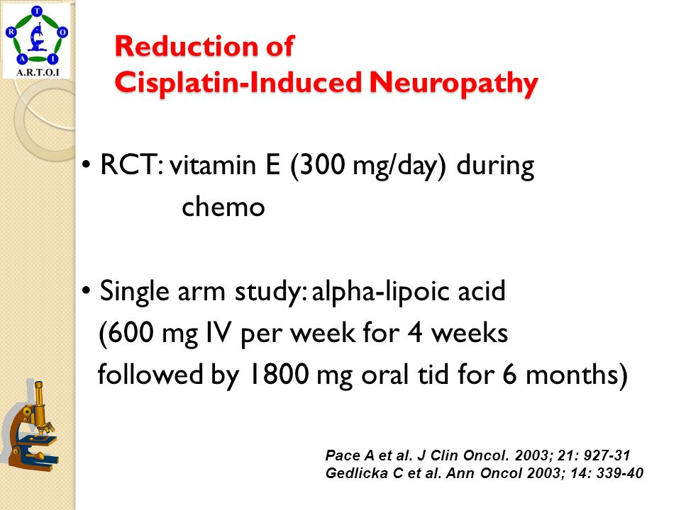 Reduction of Cisplatin-Induced Neuropathy RCT: vitamin E (300 mg/day) during chemo Single arm study: alpha-lipoic acid (600 mg IV per week for 4 weeks