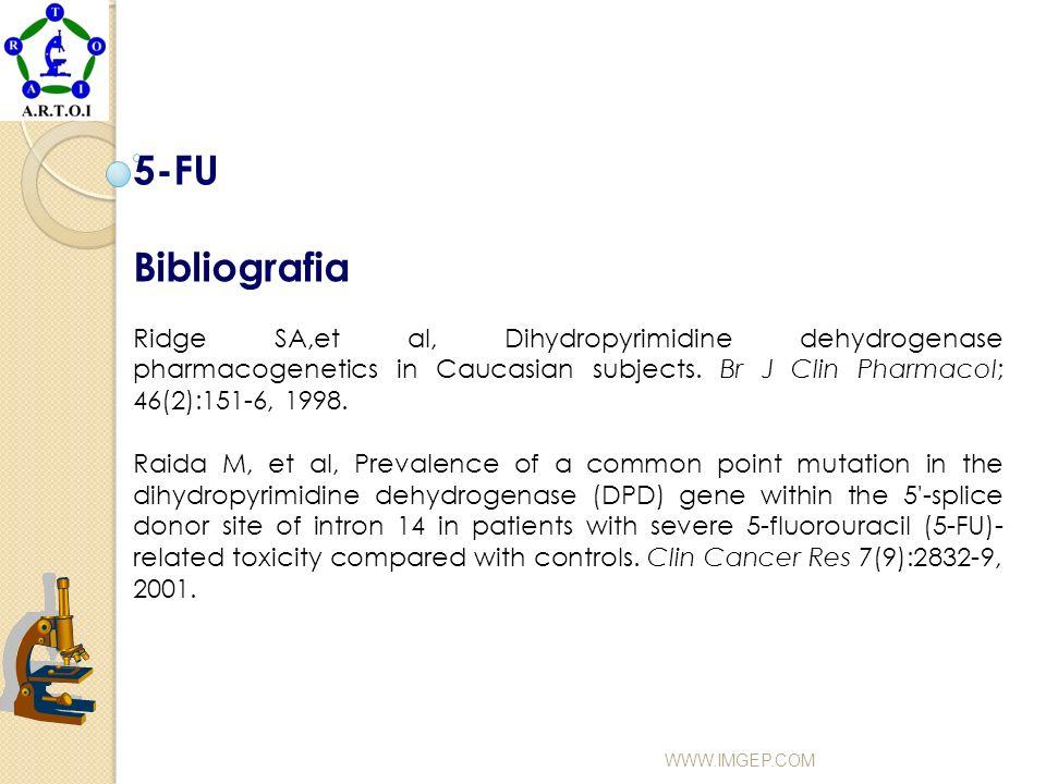 5-FU Bibliografia Ridge SA,et al, Dihydropyrimidine dehydrogenase pharmacogenetics in Caucasian subjects. Br J Clin Pharmacol; 46(2):151-6, 1998. Raid