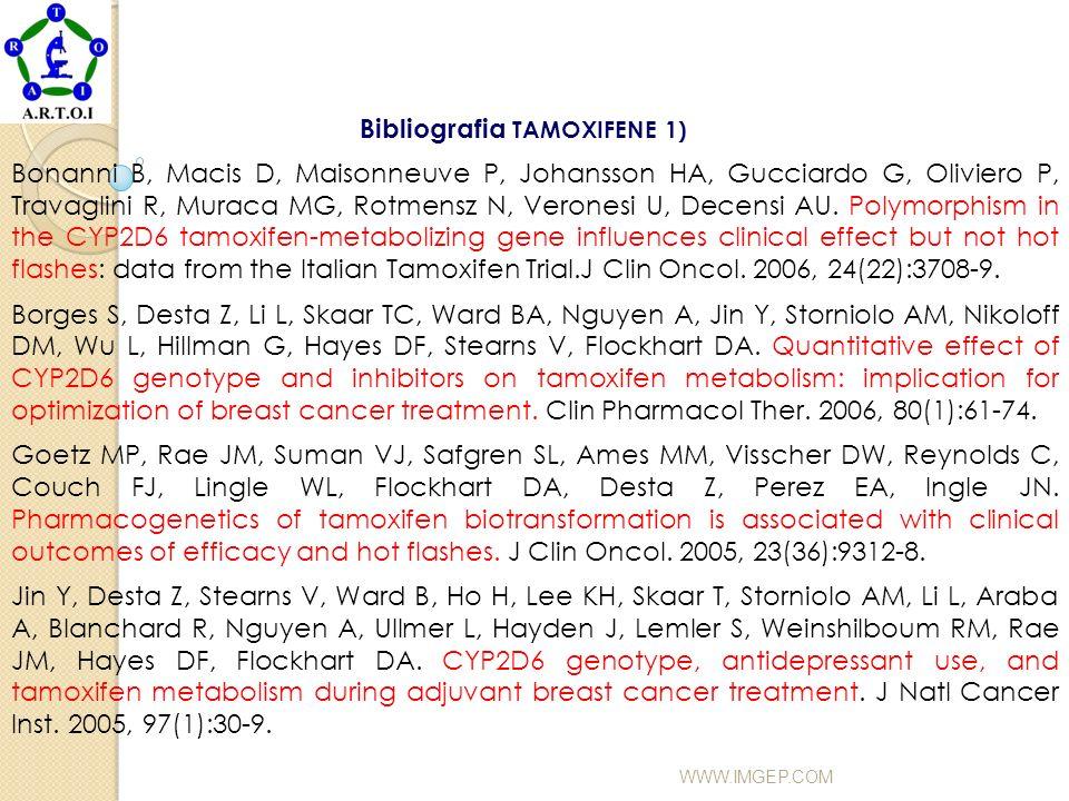 WWW.IMGEP.COM Bibliografia TAMOXIFENE 1) Bonanni B, Macis D, Maisonneuve P, Johansson HA, Gucciardo G, Oliviero P, Travaglini R, Muraca MG, Rotmensz N