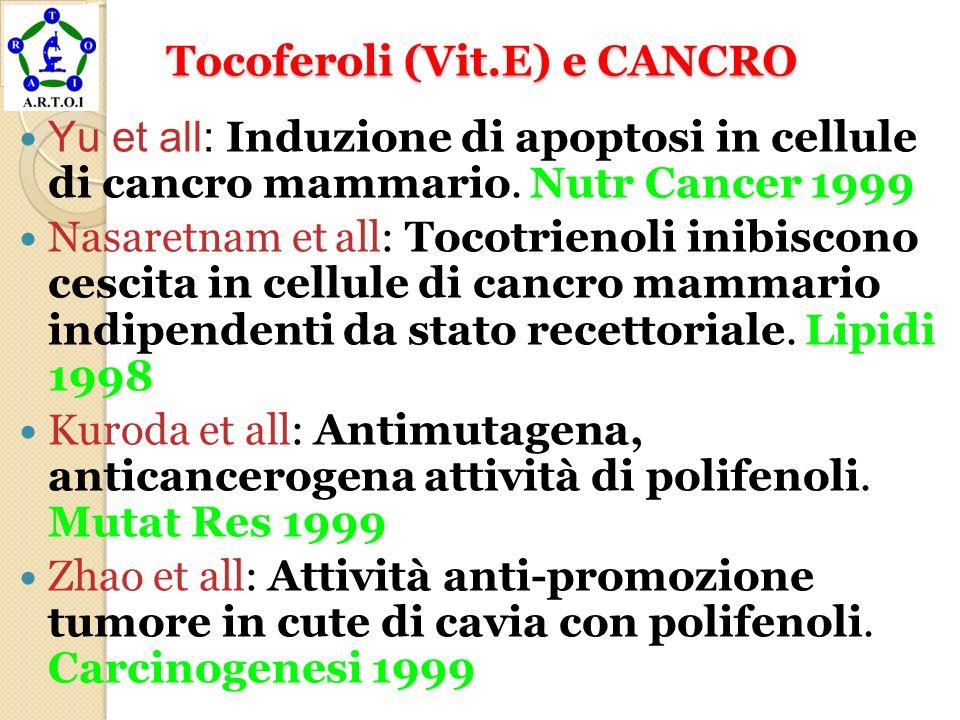 Tocoferoli (Vit.E) e CANCRO Tocoferoli (Vit.E) e CANCRO Yu et all: Induzione di apoptosi in cellule di cancro mammario. Nutr Cancer 1999 Nasaretnam et