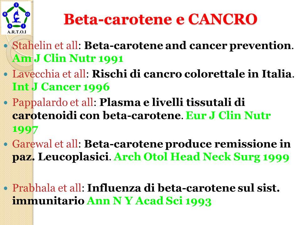 Beta-carotene e CANCRO Beta-carotene e CANCRO Stahelin et all: Beta-carotene and cancer prevention. Am J Clin Nutr 1991 Lavecchia et all: Rischi di ca