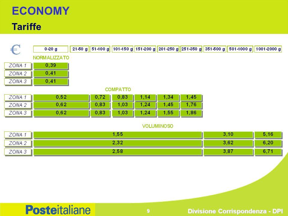 Divisione Corrispondenza - DPI 9 ECONOMY Tariffe