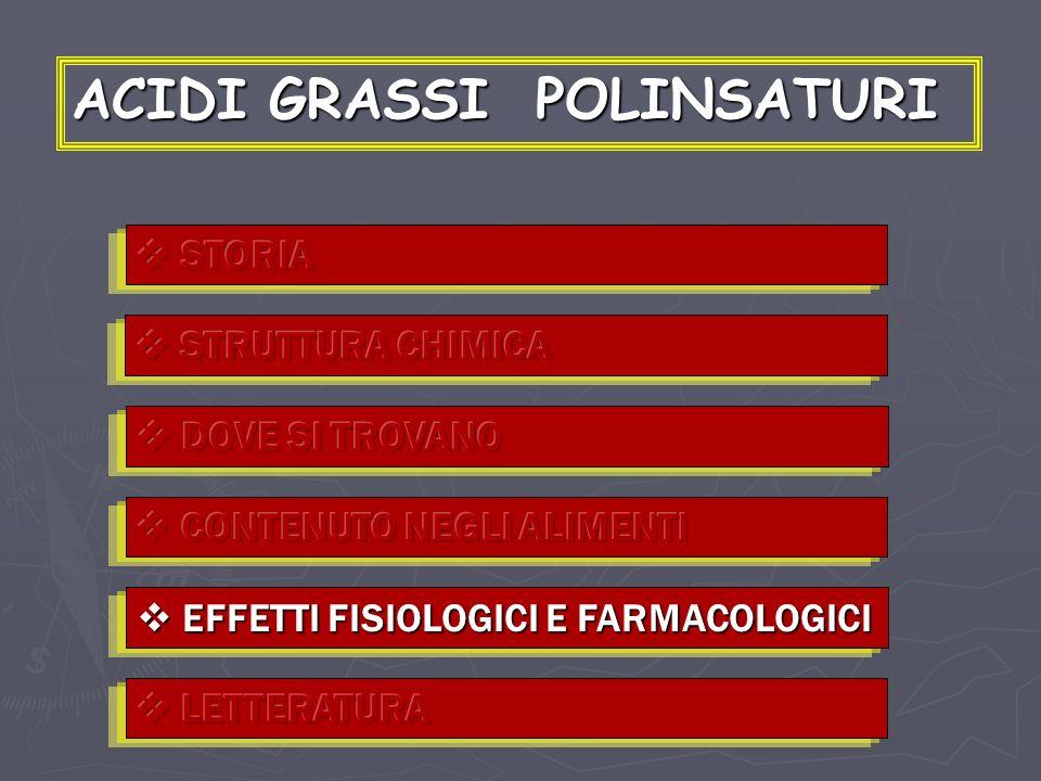ACIDI GRASSI POLINSATURI EFFETTI FISIOLOGICI E FARMACOLOGICI EFFETTI FISIOLOGICI E FARMACOLOGICI