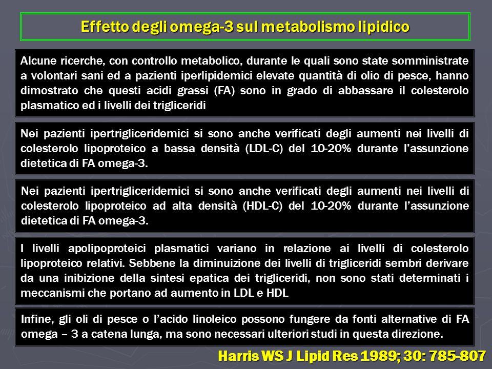 Effetto degli omega-3 sul metabolismo lipidico Alcune ricerche, con controllo metabolico, durante le quali sono state somministrate a volontari sani e