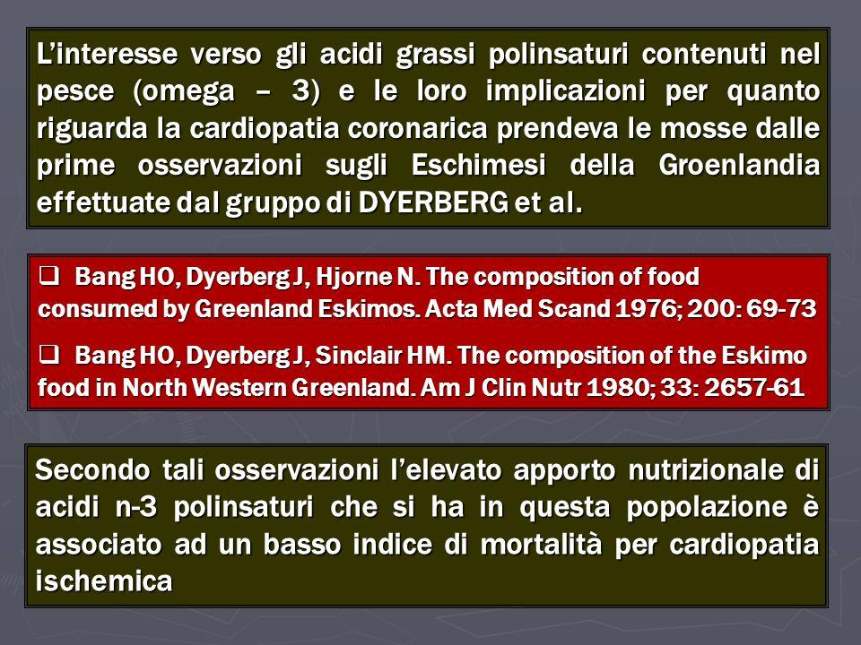 Effetto dellassunzione degli omega-3 e pressione arteriosa SITTING Systolic 144.9 ± 12.7 140.3 ± 12.5 - 4.6 (-7.4, -1.8) 0.002 Diastolic 95.0 ± 6.3 92.0 ± 7.6 - 3.0 (-4.5, -1.5) 0.0002 Mean Arterial 113.0 ± 9.3 109.5 ± 10.5 - 3.5 (-5.7, -1.3) 0.002 STANDING BASE LINE WEEK 10 CHANGE P VALUE FISH – OIL (78 pts) Systolic 144.6 ± 13.4 140.2 ± 13.5 - 4.4 (-7.1, -1.7) 0.002 Diastolic 98.8 ± 8.2 95.0 ± 8.1 - 3.8 (-5.4, -2.2) 0.0001 Mean Arterial 115.6 ± 10.0 111.3 ± 10.0 - 4.3 (-6.4, -2.2) 0.0001 Bonaa KH, et al N Engl J Med 1990; 322: 795-801