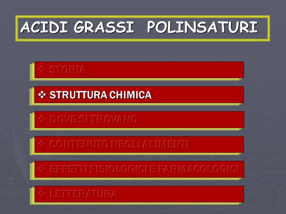 ACIDI GRASSI NELLA DIETA INSATURI (omega) SATURI 3,81 Å 111° 123° 3,01 Å Laurico (12:0) Miristico (14:0) Palmitico (16:0) Stearico (18:0) MONOINSATURI POLINSATURI ω – 9 Oleico (18:1) Linoleico (18:2) Linolenico (18:3) Eicosapentaenoico (20:5) Docosaesaenoico (22:6) ω - 6 ω - 3