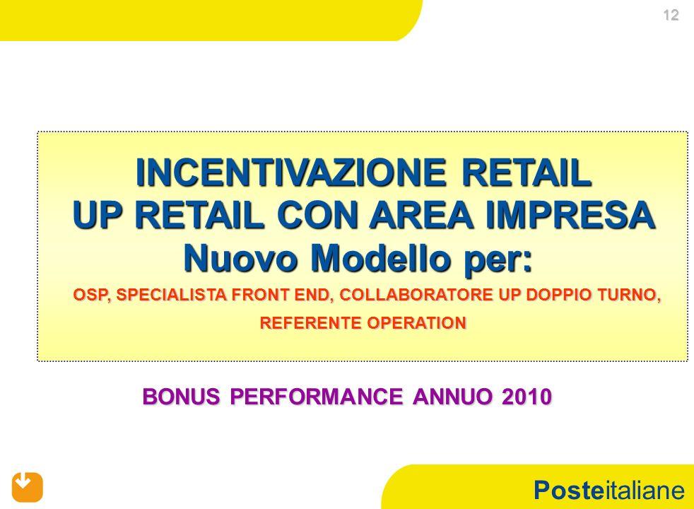 Posteitaliane 12 12 BONUS PERFORMANCE ANNUO 2010 INCENTIVAZIONE RETAIL UP RETAIL CON AREA IMPRESA Nuovo Modello per: OSP, SPECIALISTA FRONT END, COLLA