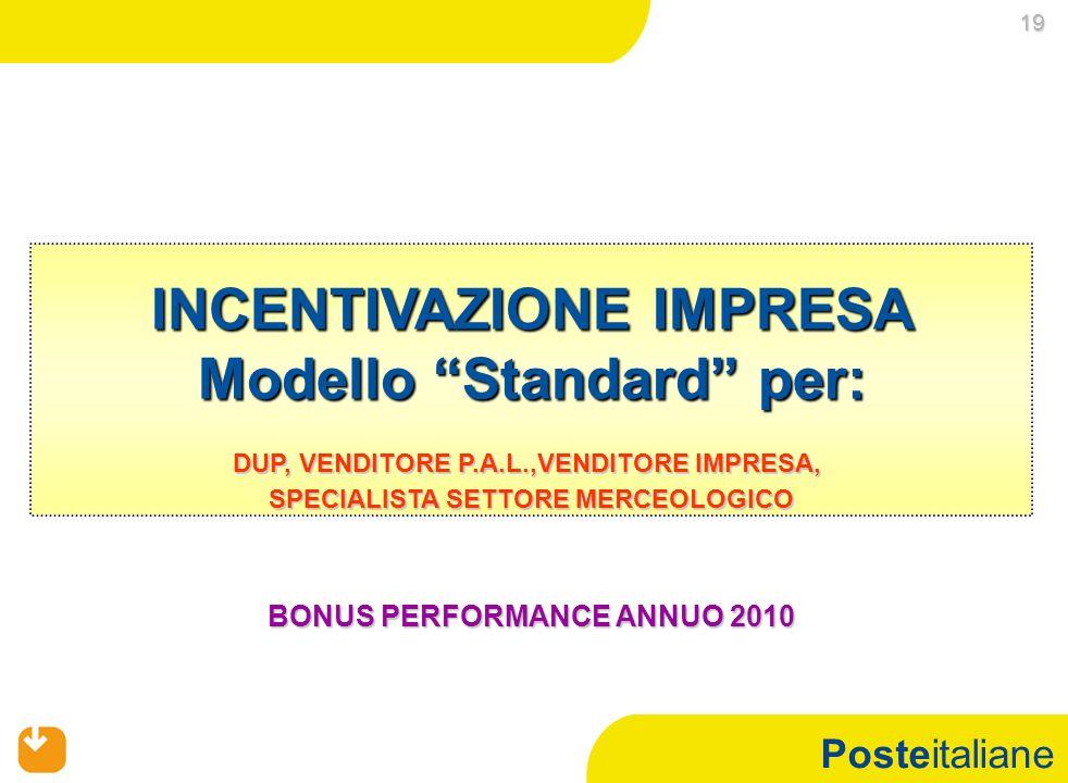 Posteitaliane INCENTIVAZIONE IMPRESA Modello Standard per: DUP, VENDITORE P.A.L.,VENDITORE IMPRESA, SPECIALISTA SETTORE MERCEOLOGICO BONUS PERFORMANCE
