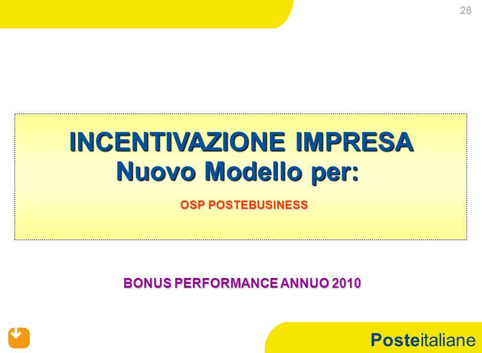 Posteitaliane INCENTIVAZIONE IMPRESA Nuovo Modello per: OSP POSTEBUSINESS OSP POSTEBUSINESS BONUS PERFORMANCE ANNUO 2010 BONUS PERFORMANCE ANNUO 2010