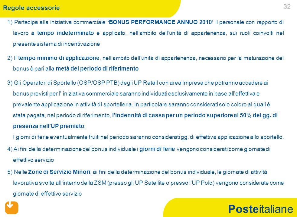 Posteitaliane 1) Partecipa alla iniziativa commerciale BONUS PERFORMANCE ANNUO 2010 il personale con rapporto di lavoro a tempo indeterminato e applic