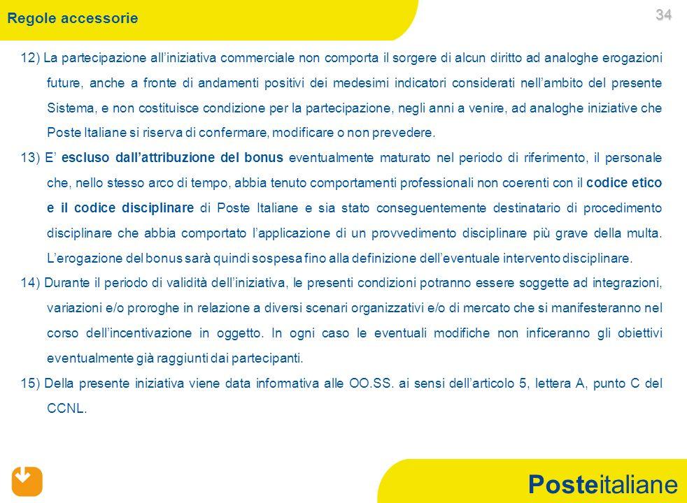 Posteitaliane Regole accessorie 12) La partecipazione alliniziativa commerciale non comporta il sorgere di alcun diritto ad analoghe erogazioni future