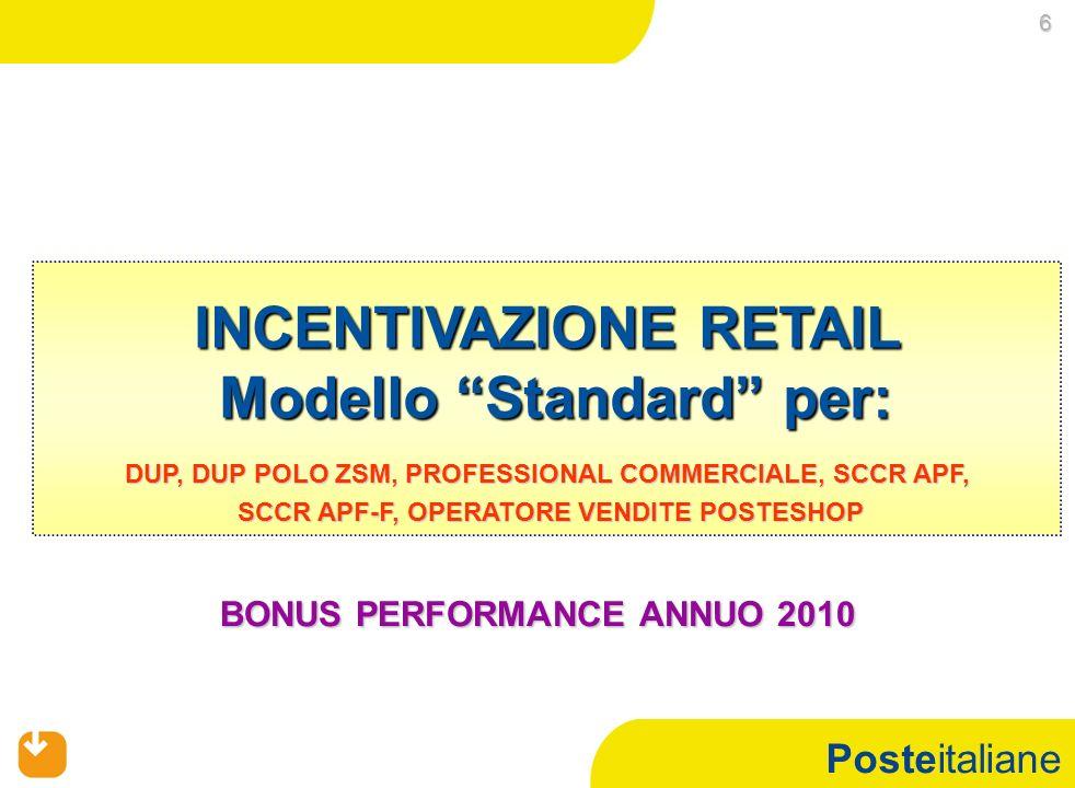 Posteitaliane INCENTIVAZIONE RETAIL Modello Standard per: 6 BONUS PERFORMANCE ANNUO 2010 DUP, DUP POLO ZSM, PROFESSIONAL COMMERCIALE, SCCR APF, SCCR A