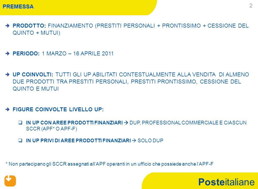 Posteitaliane PREMESSA PRODOTTO: FINANZIAMENTO (PRESTITI PERSONALI + PRONTISSIMO + CESSIONE DEL QUINTO + MUTUI) PERIODO: 1 MARZO – 16 APRILE 2011 UP C