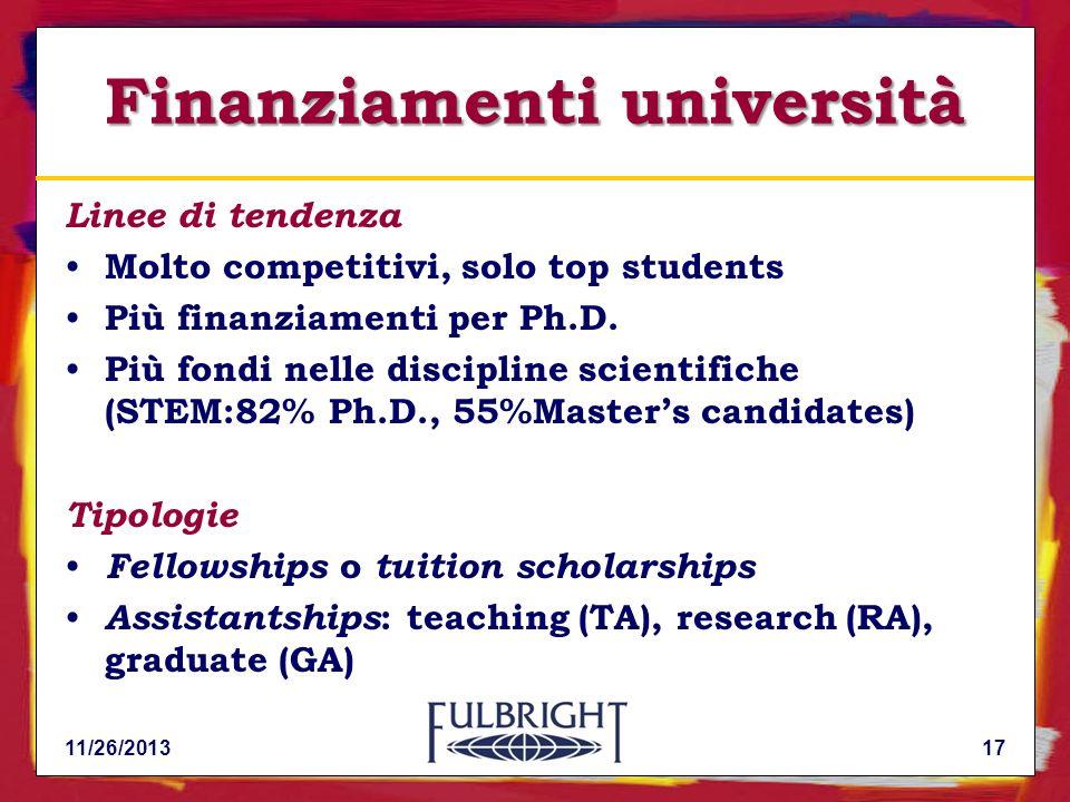 11/26/201317 Finanziamenti università Linee di tendenza Molto competitivi, solo top students Più finanziamenti per Ph.D.