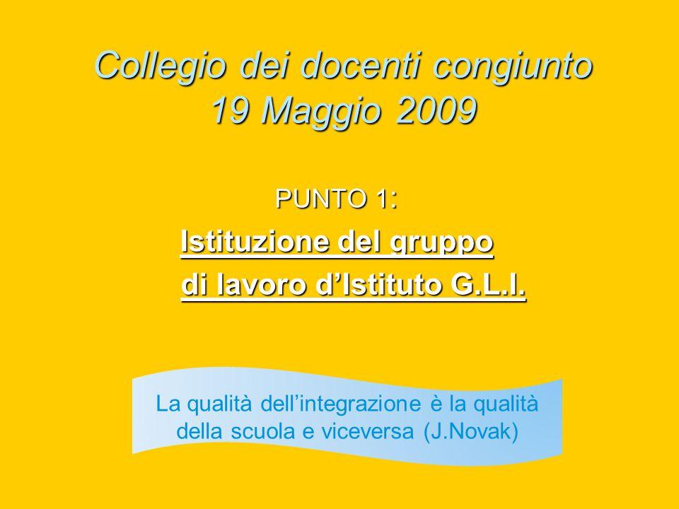 Collegio dei docenti congiunto 19 Maggio 2009 PUNTO 1 : Istituzione del gruppo di lavoro dIstituto G.L.I. di lavoro dIstituto G.L.I. La qualità dellin