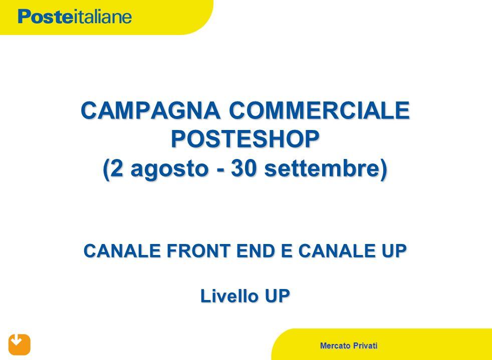 Mercato Privati CAMPAGNA COMMERCIALE POSTESHOP (2 agosto - 30 settembre) CANALE FRONT END E CANALE UP Livello UP