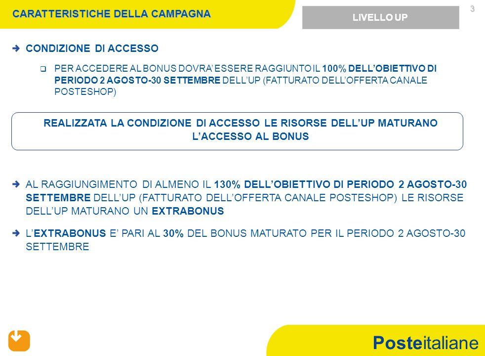 Posteitaliane 4 CARATTERISTICHE DELLA CAMPAGNA FIGURE COINVOLTE UFFICIO POSTALE: DUP (NEI SOLI UP SERVIZIO E PRESIDIO MONOPERATORI), OSP, SPECIALISTA DI FRONT END /COLLABORATORE UP DOPPIO TURNO E REFERENTE OPERATION Sarà cura del DUP, previa condivisione con il Direttore di Filiale e in coerenza con quanto specificato nelle regole accessorie, individuare allinterno degli UP che hanno superato la soglia prevista, gli OSP e gli Specialisti di front end/ Collaboratori UP Doppio Turno destinatari del bonus Negli UP che hanno superato la soglia prevista, sarà erogato il bonus agli Operatori di Sportello,Specialisti di Front end che hanno contribuito in maniera significativa in termini di proattività commerciale e/o ai CUPDT (in alternativa allo Specialista FE ) che hanno significativamente contribuito al raggiungimento degli obiettivi garantendo la piena funzionalità dellUP, secondo quanto riportato in tabella: LIVELLO UP