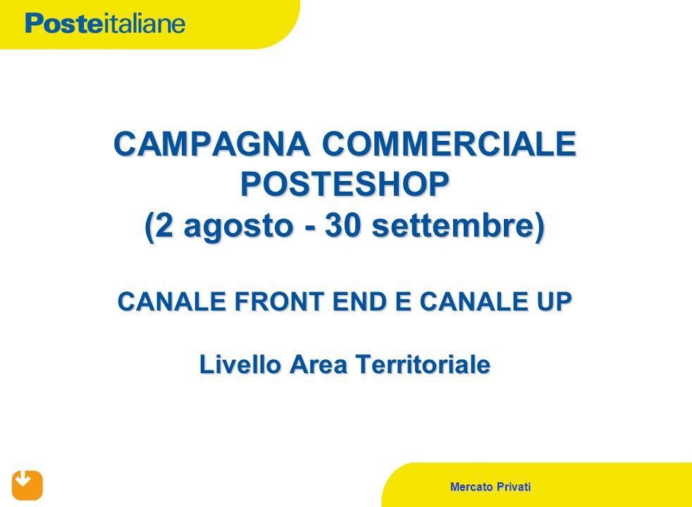 Mercato Privati CAMPAGNA COMMERCIALE POSTESHOP (2 agosto - 30 settembre) CANALE FRONT END E CANALE UP Livello Area Territoriale