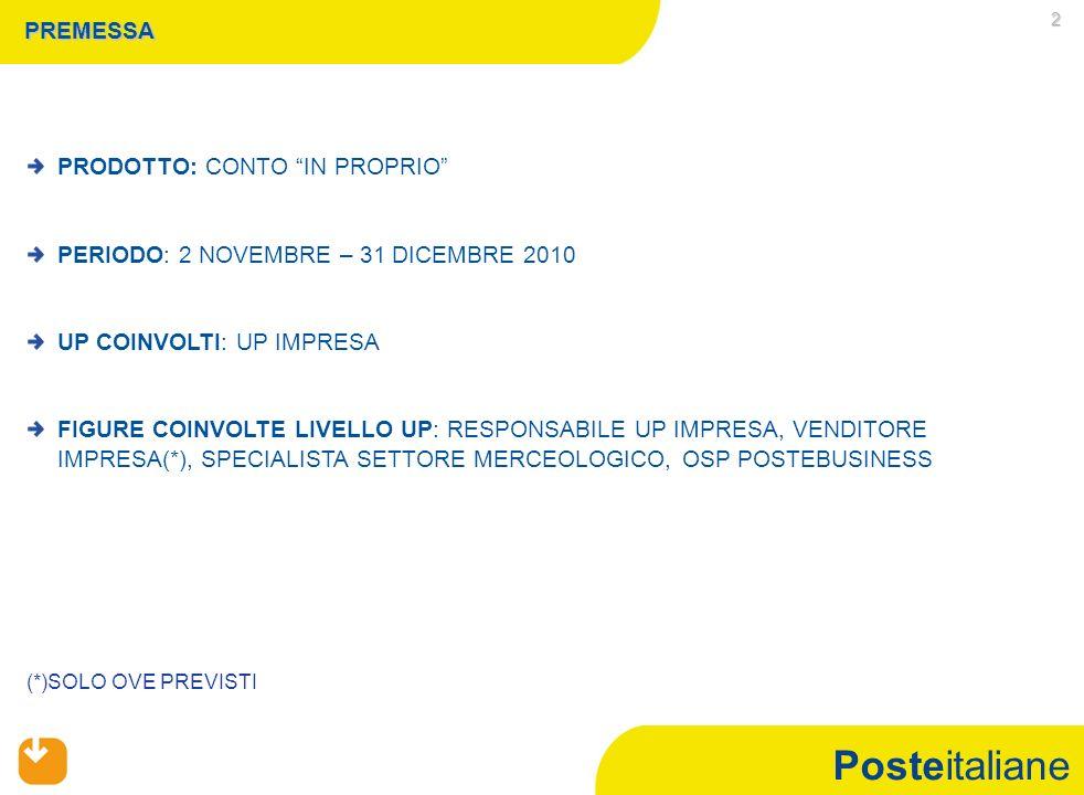 Posteitaliane 2 PREMESSA PRODOTTO: CONTO IN PROPRIO PERIODO: 2 NOVEMBRE – 31 DICEMBRE 2010 UP COINVOLTI: UP IMPRESA FIGURE COINVOLTE LIVELLO UP: RESPONSABILE UP IMPRESA, VENDITORE IMPRESA(*), SPECIALISTA SETTORE MERCEOLOGICO, OSP POSTEBUSINESS (*)SOLO OVE PREVISTI