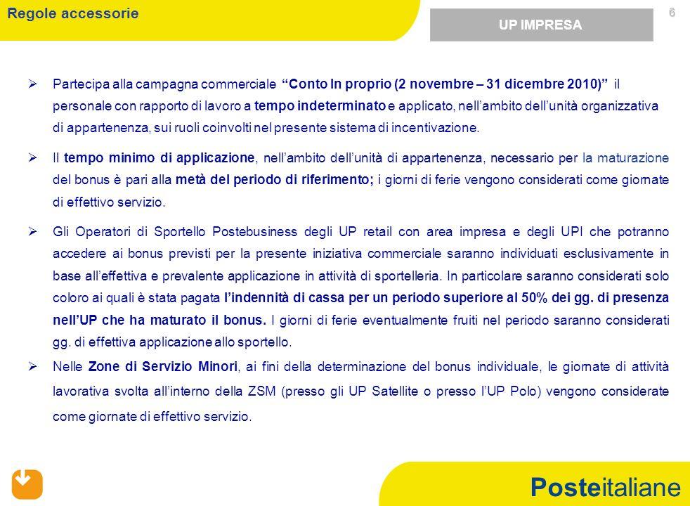Posteitaliane 6 Partecipa alla campagna commerciale Conto In proprio (2 novembre – 31 dicembre 2010) il personale con rapporto di lavoro a tempo indeterminato e applicato, nellambito dellunità organizzativa di appartenenza, sui ruoli coinvolti nel presente sistema di incentivazione.