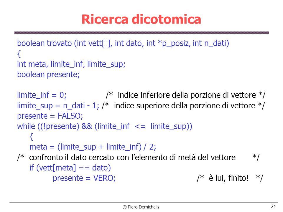 © Piero Demichelis 21 Ricerca dicotomica boolean trovato (int vett[ ], int dato, int *p_posiz, int n_dati) { int meta, limite_inf, limite_sup; boolean