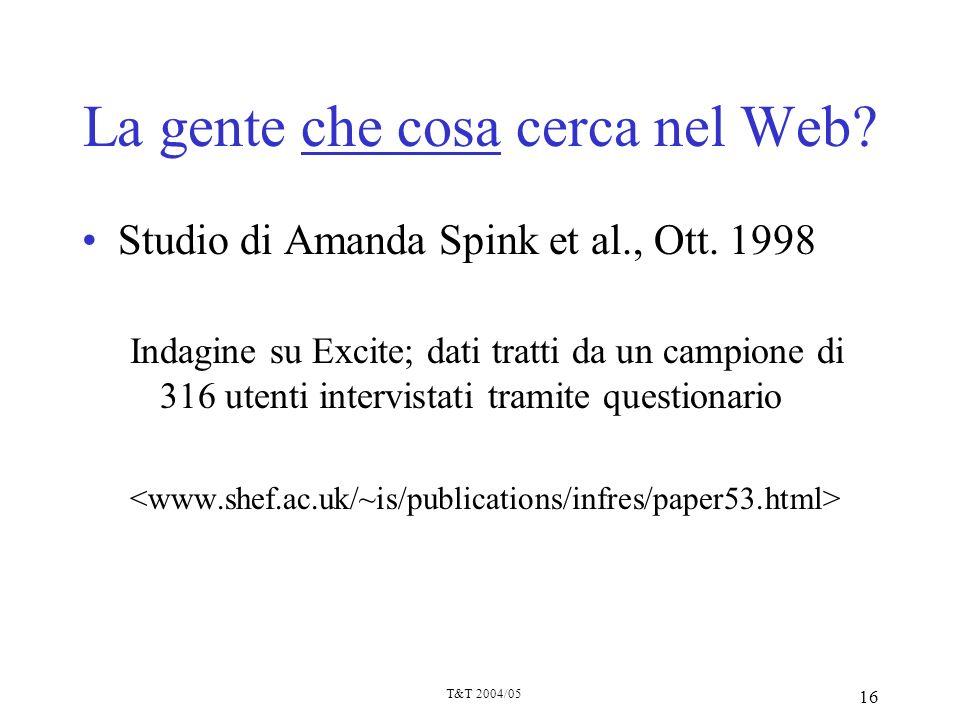 T&T 2004/05 16 La gente che cosa cerca nel Web? Studio di Amanda Spink et al., Ott. 1998 Indagine su Excite; dati tratti da un campione di 316 utenti