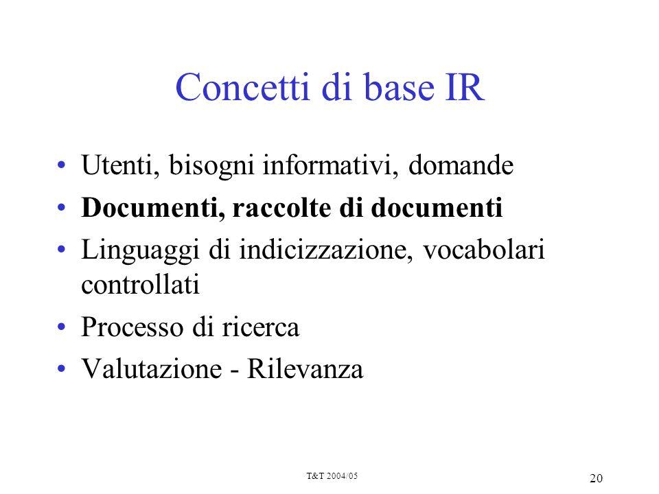 T&T 2004/05 20 Concetti di base IR Utenti, bisogni informativi, domande Documenti, raccolte di documenti Linguaggi di indicizzazione, vocabolari contr