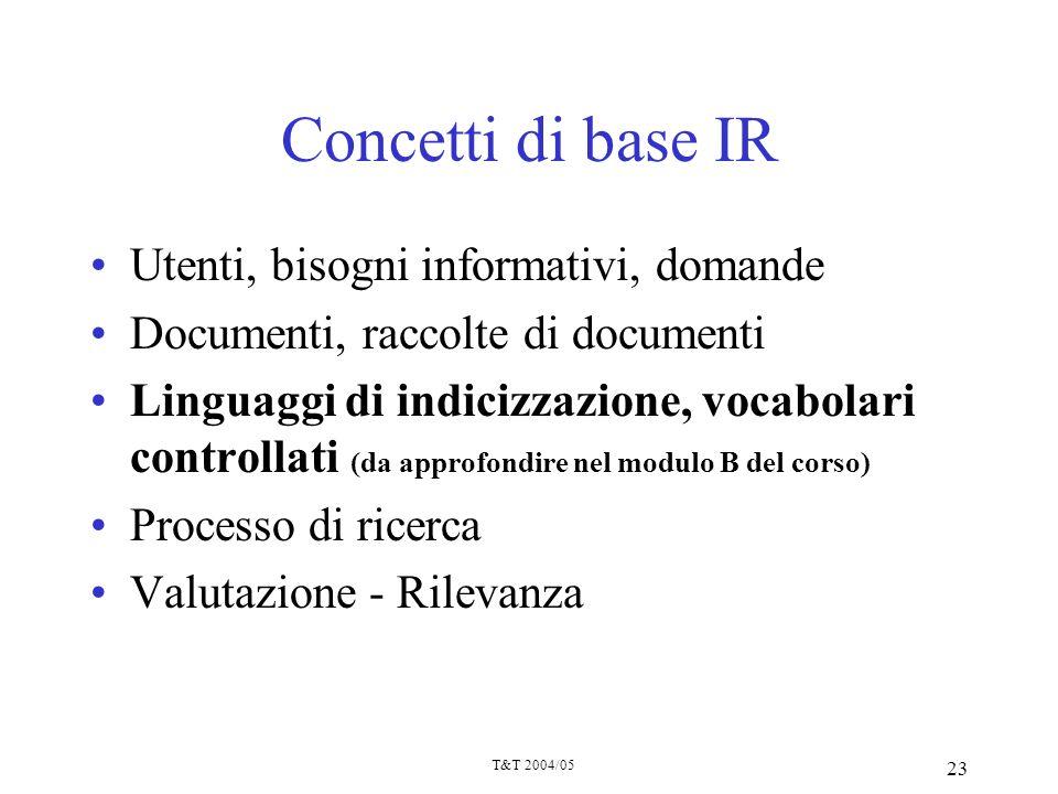 T&T 2004/05 23 Concetti di base IR Utenti, bisogni informativi, domande Documenti, raccolte di documenti Linguaggi di indicizzazione, vocabolari contr