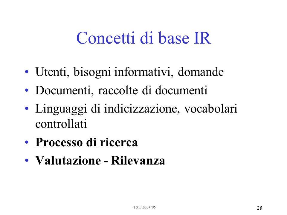 T&T 2004/05 28 Concetti di base IR Utenti, bisogni informativi, domande Documenti, raccolte di documenti Linguaggi di indicizzazione, vocabolari contr