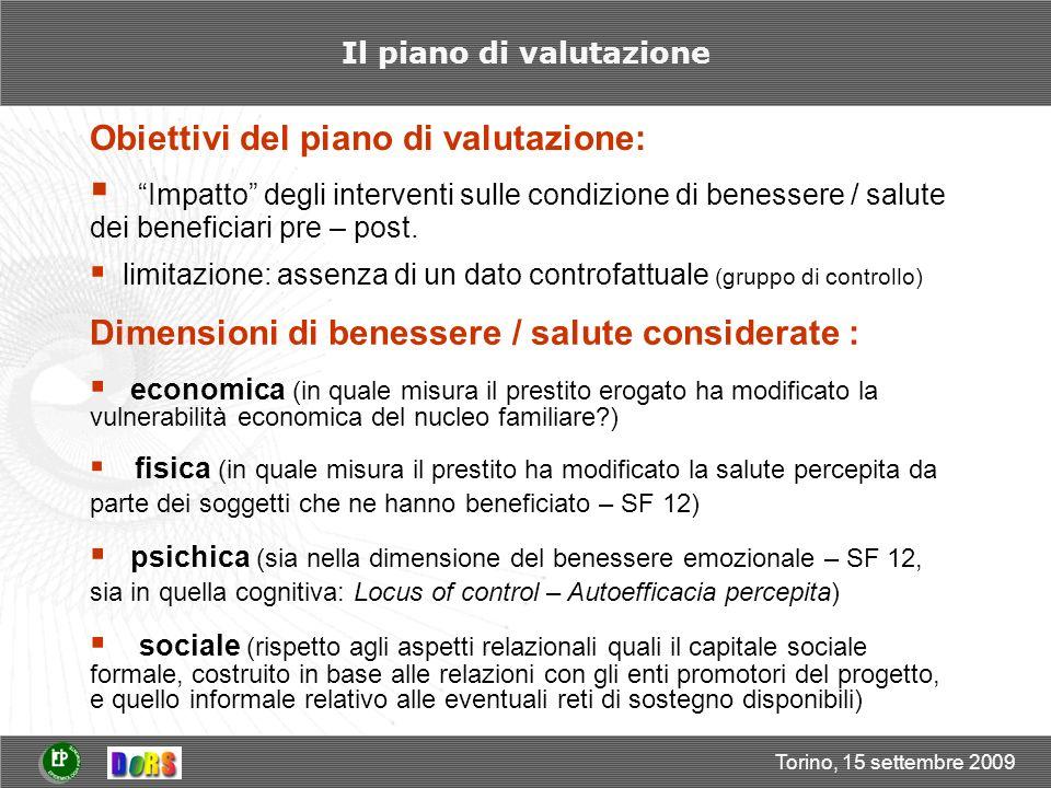 Torino, 15 settembre 2009 Il piano di valutazione Obiettivi del piano di valutazione: Impatto degli interventi sulle condizione di benessere / salute dei beneficiari pre – post.