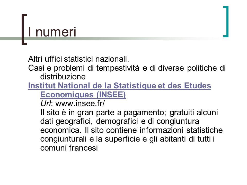 I numeri Altri uffici statistici nazionali. Casi e problemi di tempestività e di diverse politiche di distribuzione Institut National de la Statistiqu