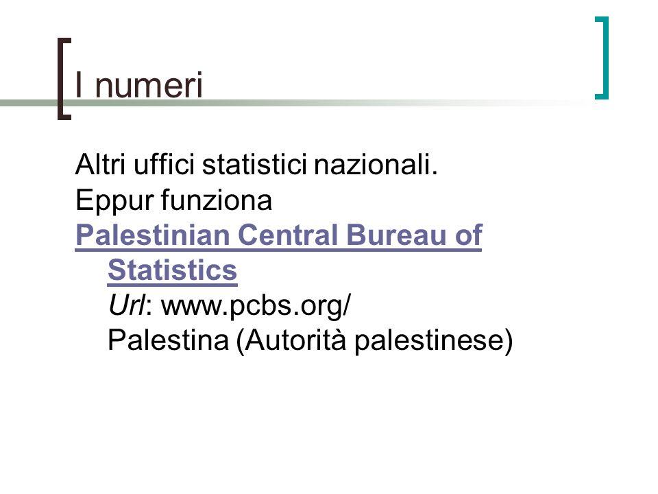 I numeri Altri uffici statistici nazionali. Eppur funziona Palestinian Central Bureau of Statistics Palestinian Central Bureau of Statistics Url: www.