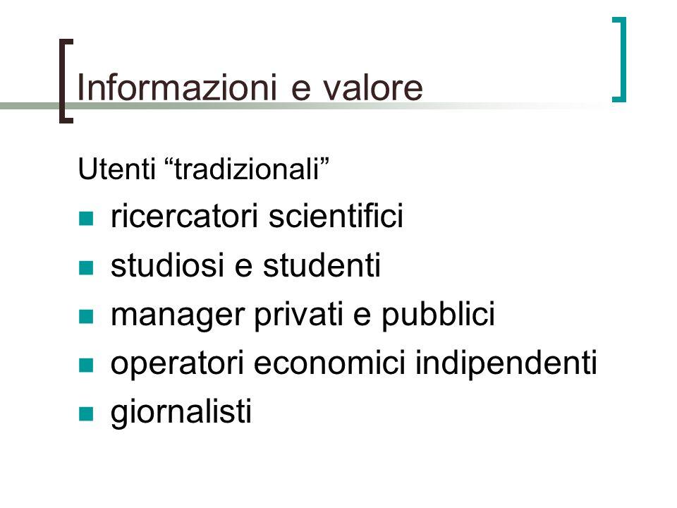 Informazioni e valore Utenti tradizionali ricercatori scientifici studiosi e studenti manager privati e pubblici operatori economici indipendenti gior