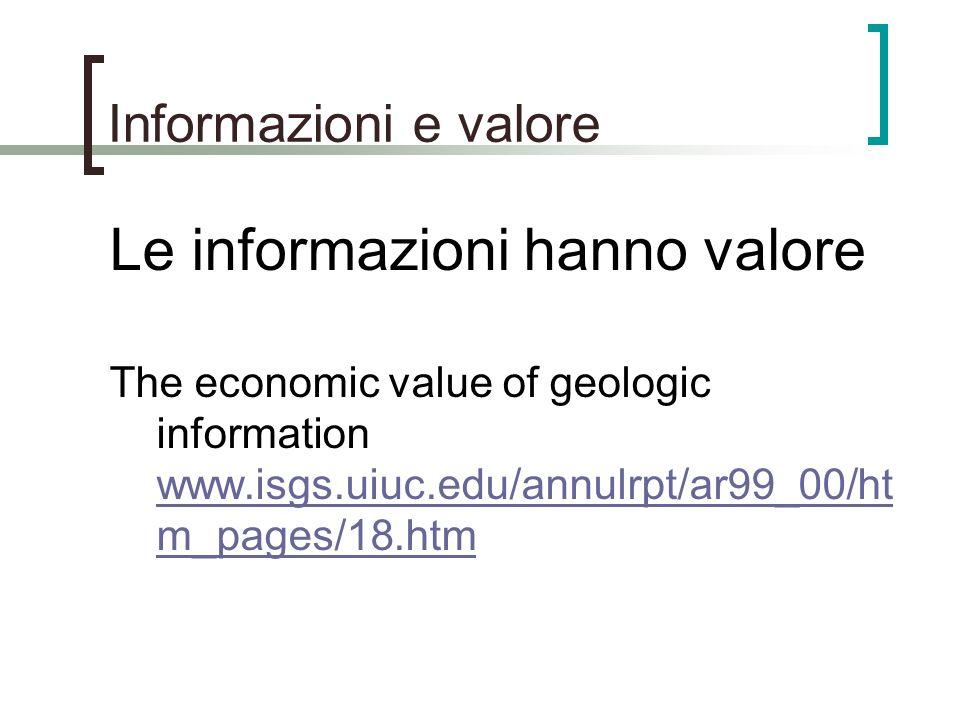 Informazioni e valore Le informazioni hanno valore The economic value of geologic information www.isgs.uiuc.edu/annulrpt/ar99_00/ht m_pages/18.htm www