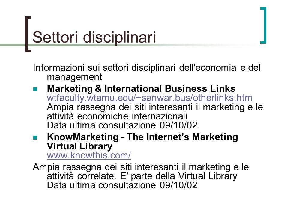 Settori disciplinari Informazioni sui settori disciplinari dell'economia e del management Marketing & International Business Links wtfaculty.wtamu.edu